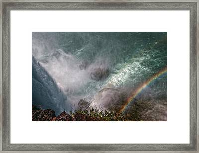 Over The Falls Framed Print by Linda Unger