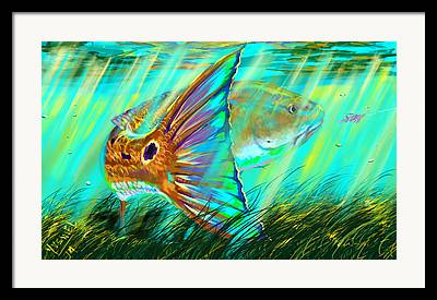 Underwater Digital Art Framed Prints