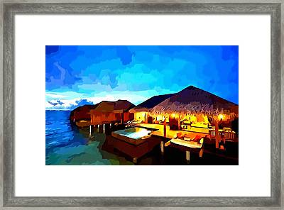 Over Water Bungalows Framed Print
