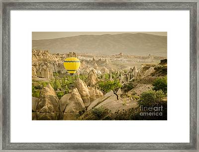 Balloon Over White Valley - Cappadocia Turkey Framed Print by OUAP Photography