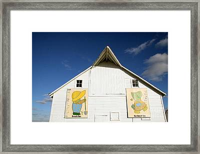 Overall Sam And Sunbonnet Sue Barn Quilts Framed Print by Amelia Painter