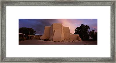 Overcast Clouds Sky Over A Church, San Framed Print by Panoramic Images