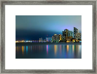 Overcast Miami Night Skyline Framed Print