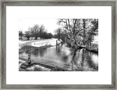 Overflowing River In Black And White Framed Print