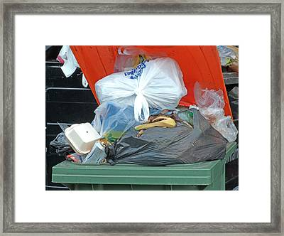 Overflowing Rubbish Bin Framed Print
