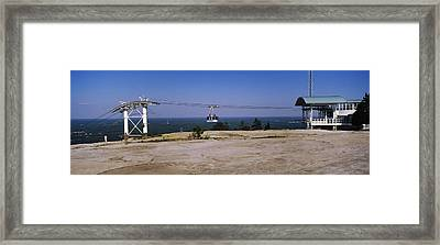Overhead Cable Car On A Mountain, Stone Framed Print