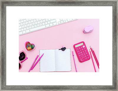 Overhead  Pink Studio Desk Framed Print by Carol Yepes