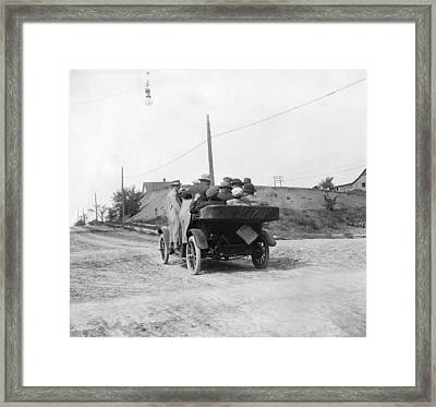 Overloaded Maxwell Car Test Framed Print by Underwood Archives