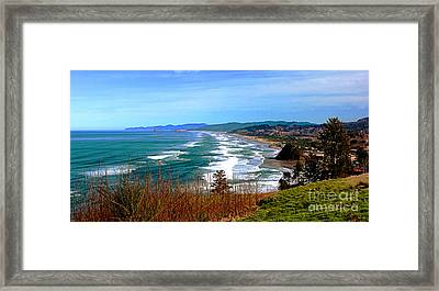Overlooking Proposal Rock Cape Lookout Haystack Rock And Cape Kiwanda Framed Print by Margaret Hood