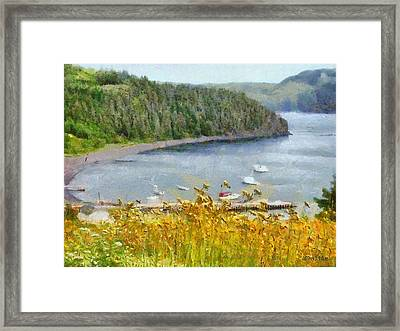Overlooking The Harbor Framed Print