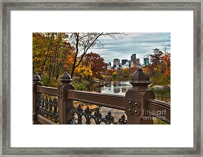 Overlooking The Lake Central Park New York City Framed Print