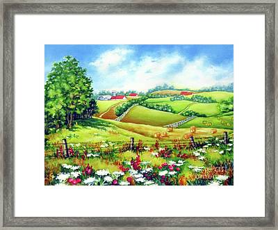 Overlooking The Meadow Framed Print