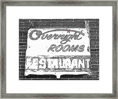 Overnight Rooms Sign Framed Print by Nina Silver
