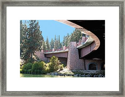 Framed Print featuring the photograph Healy Bridge Over Deschutes River by Gwyn Newcombe