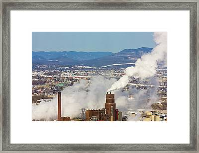Overview Of Quebec City, Chimney Giving Framed Print by Keren Su