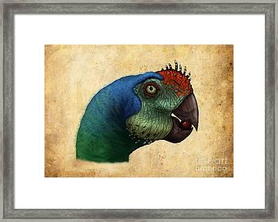 Oviraptor Head Detail Framed Print by Alvaro Rozalen