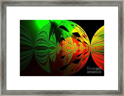 Art. Unigue Design.  Abstract Green Red And Black Framed Print
