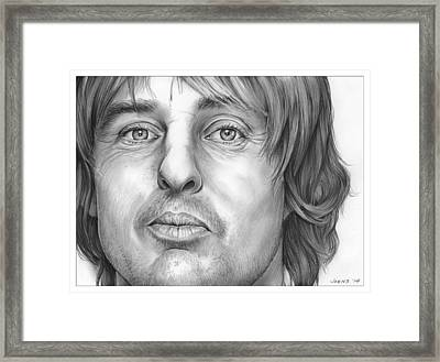 Owen Wilson Framed Print by Greg Joens