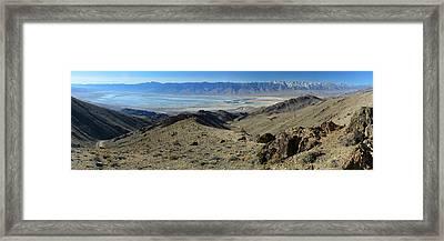 Owens Lake And Sierra Nevada Panorama November 17 2014 Framed Print by Brian Lockett