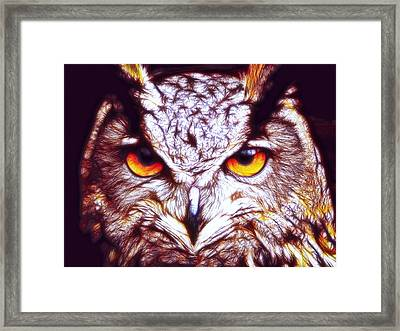 Framed Print featuring the digital art Owl - Fractal by Lilia D