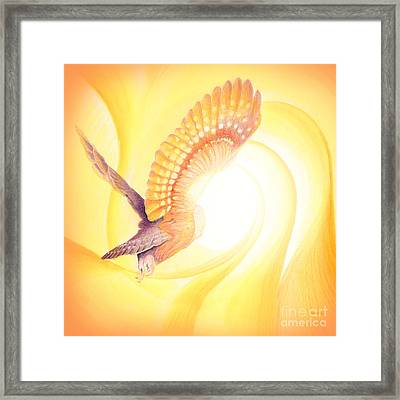 Owl Going Into The Light Framed Print