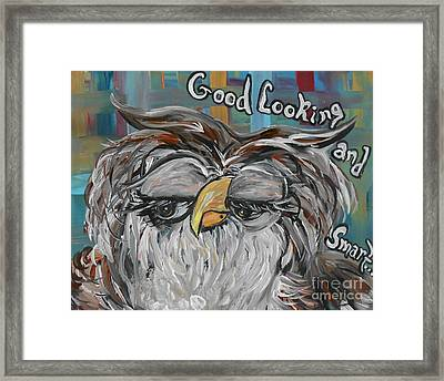 Owl - Goodlooking And Smart Framed Print by Eloise Schneider