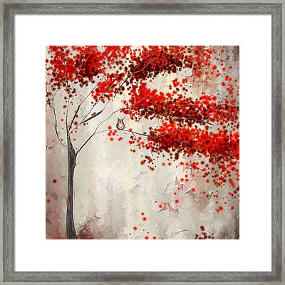Owl In Autumn Framed Print by Lourry Legarde