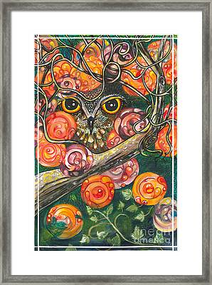 Owl In Orange Blossoms Framed Print by M E Wood