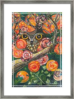 Owl In Orange Blossoms Framed Print