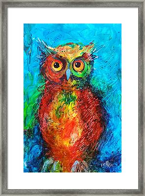 Framed Print featuring the painting Owl In The Night by Faruk Koksal