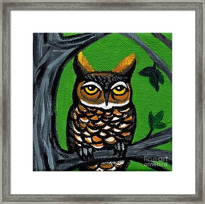 Owl In Tree With Green Background Framed Print by Genevieve Esson