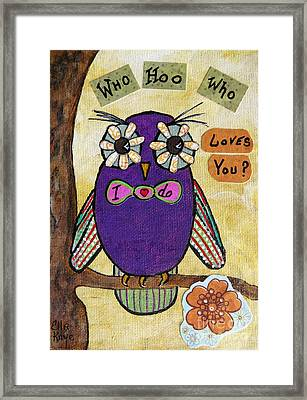 Owl Love Story - Whimsical Collage Framed Print by Ella Kaye Dickey
