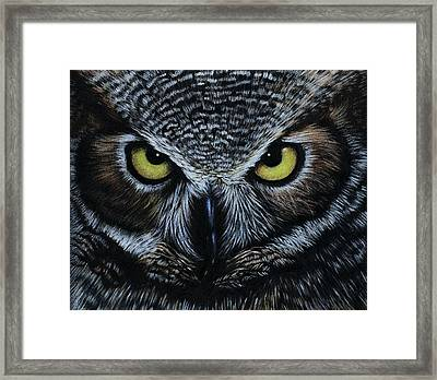 Framed Print featuring the drawing Owl by Natasha Denger