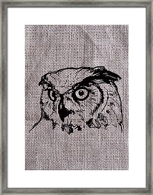 Owl On Burlap Framed Print
