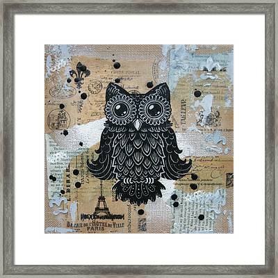 Owl On Burlap1 Framed Print by Kyle Wood
