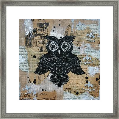 Owl On Burlap2 Framed Print by Kyle Wood