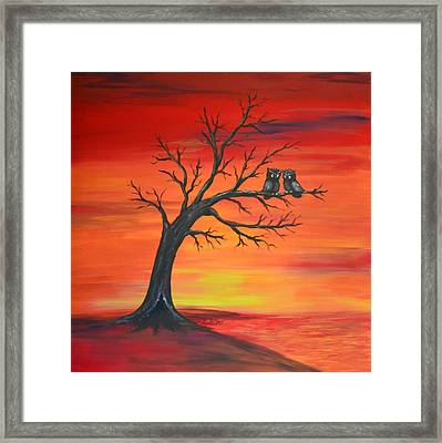 Framed Print featuring the painting Owl Tell You Something by Agata Lindquist
