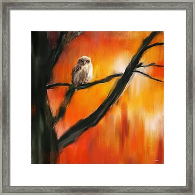 Owl Tree Framed Print by Lourry Legarde