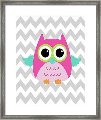 Owl Wash Brush Chevron II Framed Print
