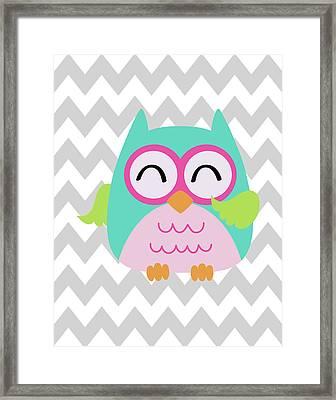 Owl Wash Brush Chevron Framed Print
