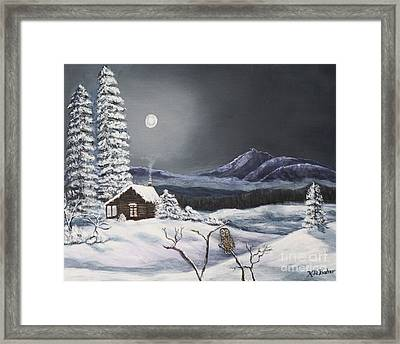 Owl Watch On A Cold Winter's Night Original  Framed Print