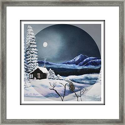 Owl Watch On A Cold Winter's Night In The Round  Framed Print by Kimberlee Baxter