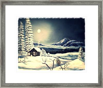 Owl Watch On A Cold Winter's Night Framed Print