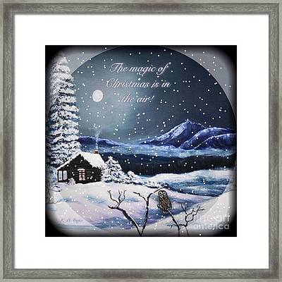 Owl Watch On A Cold Winter's Night With Snow Globe Effect Framed Print by Kimberlee Baxter