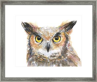 Owl Watercolor Portrait Great Horned Framed Print by Olga Shvartsur