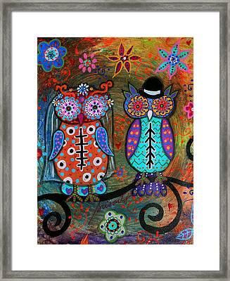 Owl Wedding Dia De Los Muertos Framed Print