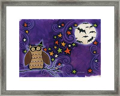 Owl With Mask Framed Print