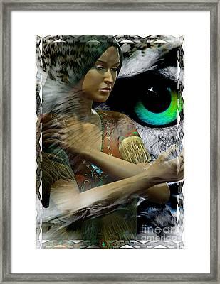Owl Woman Framed Print by Shadowlea Is