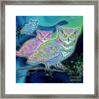 Framed Print featuring the painting Owls At Midnight  Square by Teresa Ascone