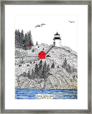 Owls Head Lighthouse Dwg Framed Print by Frederic Kohli